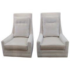 Pair of Vintage High Back Lounge Chairs