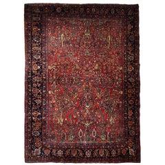 Handmade Antique Sarouk Style Rug, 1910s, 1B722