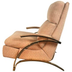 Stunning Brass Cantilever Recliner Lounge Chair, after Milo Baughman