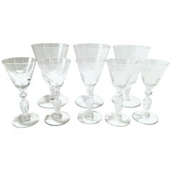 Mid-20th Century American Cut and Etched Crystal Stem Glasses S/8