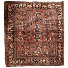 Handmade Antique Sarouk Style Square Rug, 1920s, 1B723