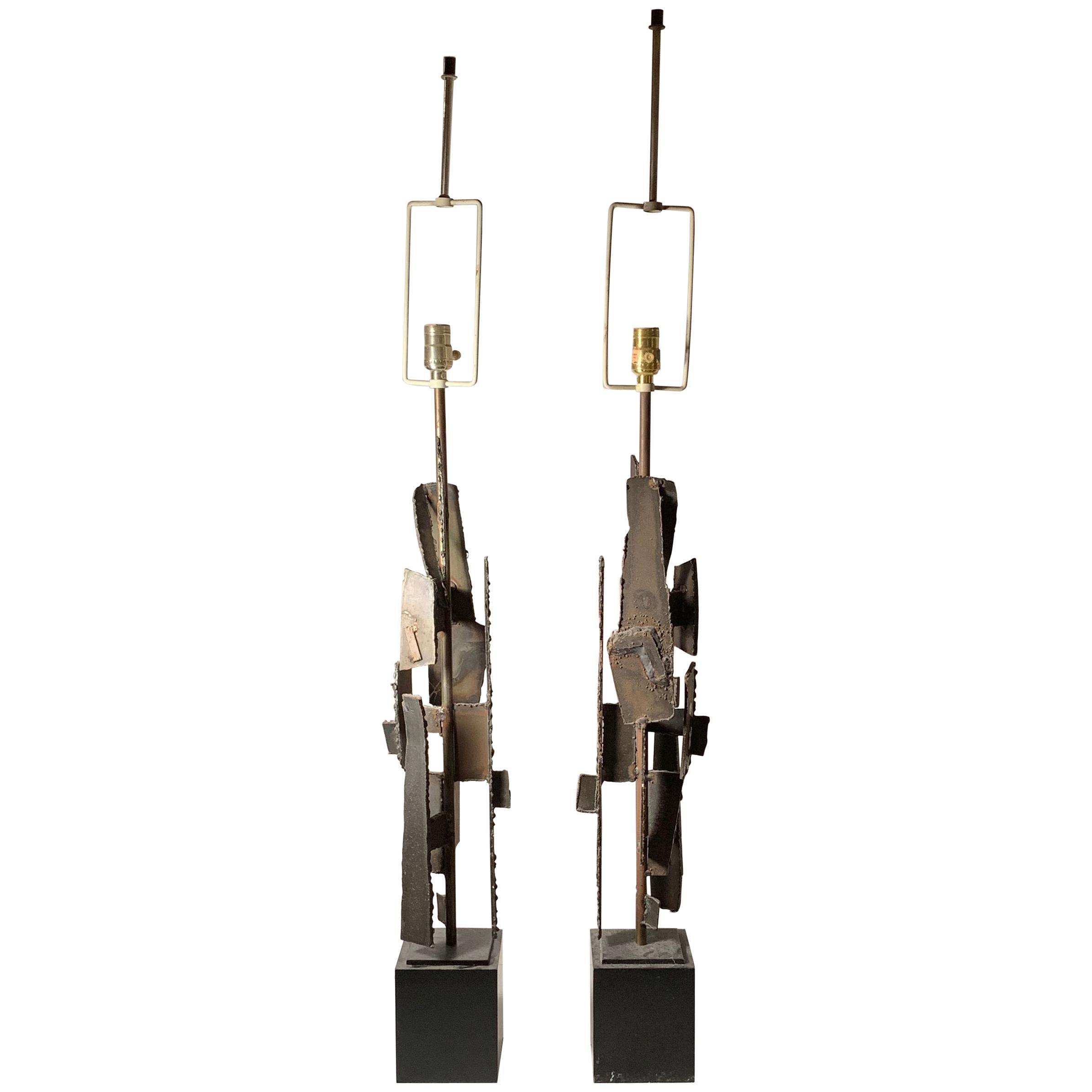 Pair of Richard Barr Brutalist Table Lamps Laurel Lamp Company