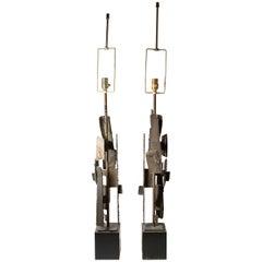Pair of Harry Balmer / Richard Barr Brutalist Table Lamps Laurel Lamp Company