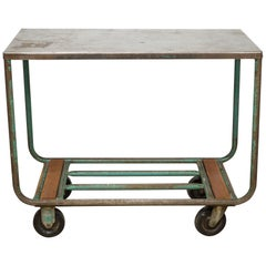 Early 20th Century Steel and Wood Factory Rolling Cart, circa 1940