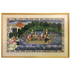 Large Framed Original Indian Gouache Painting
