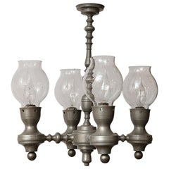 Unusual Pewter Chandelier with Glass hurricanes in Country Style