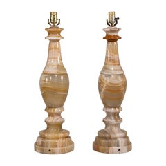 Stunning Pair of Large Scale Neoclassical Onyx Table Lamps