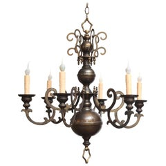 Antique Bronze Georgian-Style Chandelier with Flat Arms and Beautiful Patina