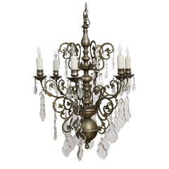 French Nickel on Bronze Chandelier Embellished with Crystals