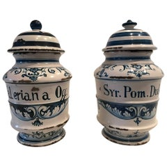 Pair of 18th Century Delft Blue and White Porcelain Jars with Lids