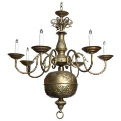 Unique Antique Dutch Flemish Repoussé BrassChandelier with Floral Motif.
