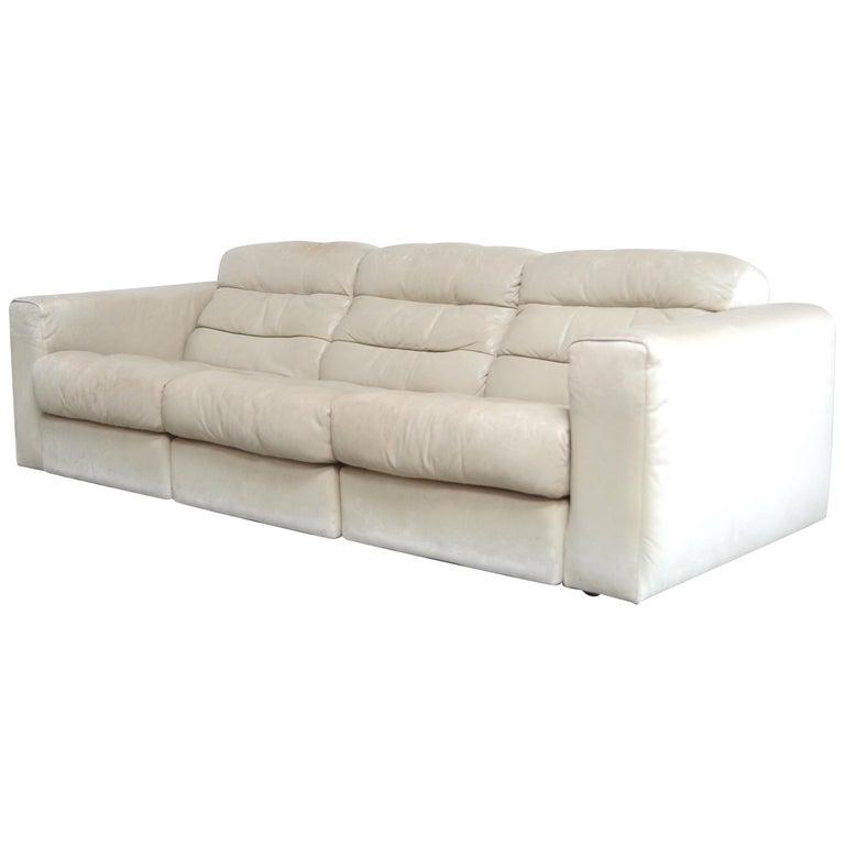 De Sede Leather Sofa DS 105 Ecru White For Sale