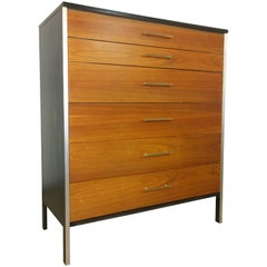 Mid-Century Modern Refurbished Paul McCobb Walnut and Brass Chest of Drawers