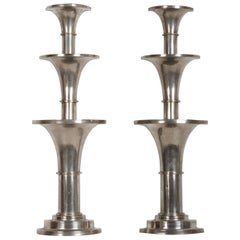 Pair of Nickel-Plated Art Deco Wall Floral Sconces