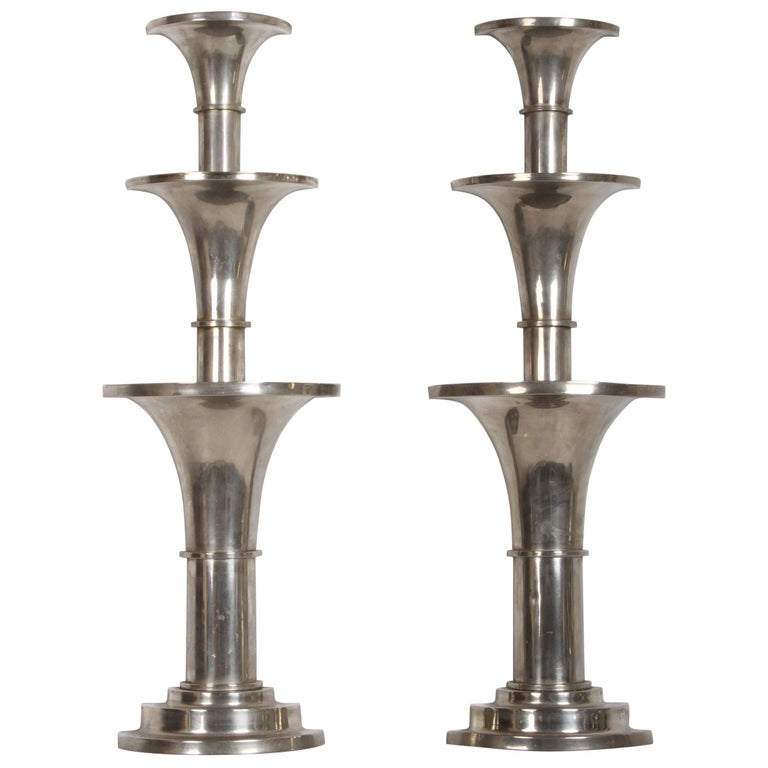 Pair of Nickel-Plated Art Deco Wall Floral Sconces For Sale