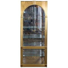 Classical Palladian Style Brass and Glass Vitrines by Mastercraft