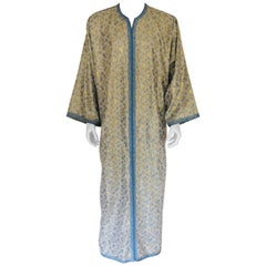 Metallic Blue and Silver Brocade 1970s Maxi Dress Caftan, Evening Gown Kaftan