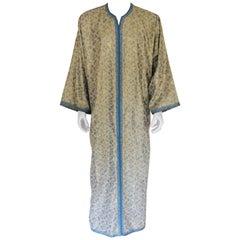 Metallic Blue and Silver Brocade 1970s Maxi Dress Caftan, Evening Gown Kaftan