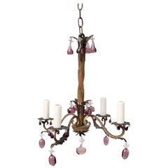 French Vintage Iron and Crystal Chandelier