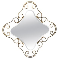 French Vintage Wrought Iron Mirror
