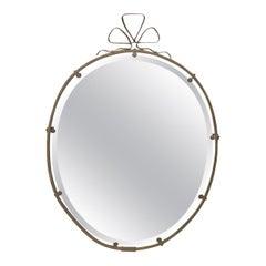 French Brass Ribbon Motif Mirror