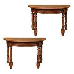 Pair of Heavy Oak Demilune Tables