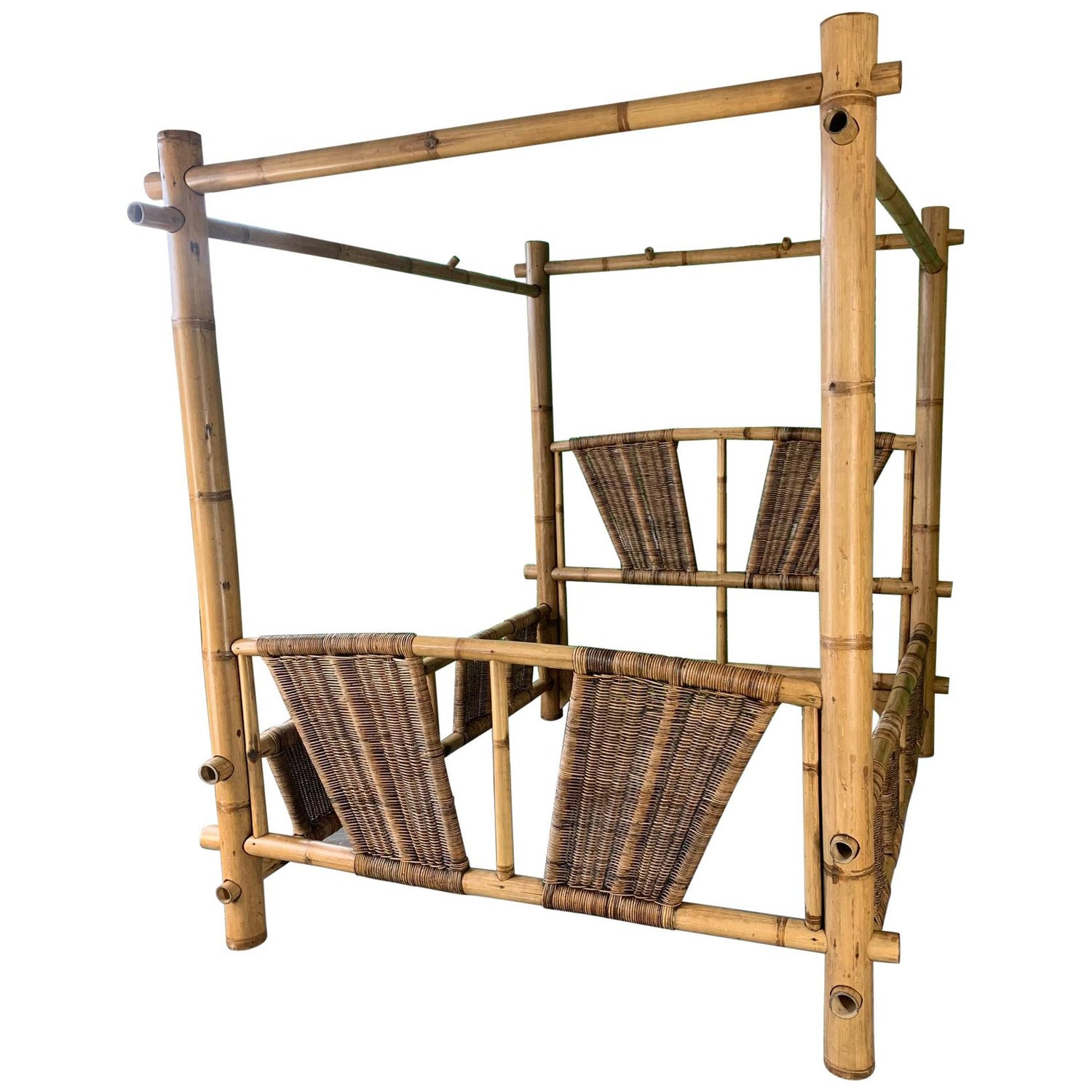 Queen Size Bamboo Canopy Bed For Sale at 1stdibs