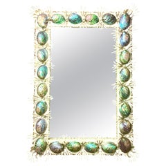 21st Century Contemporary Monumental Abalone Shell & Spider Coral Mirror