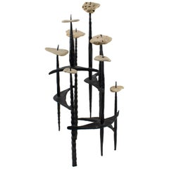 David Palombo Israel 1950s Brutalist Iron and Stones Sculpture Menorah
