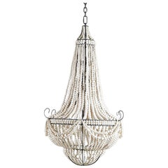 Klaylife Ornate, White Handmade Clay Beaded Chandelier, 21st Century