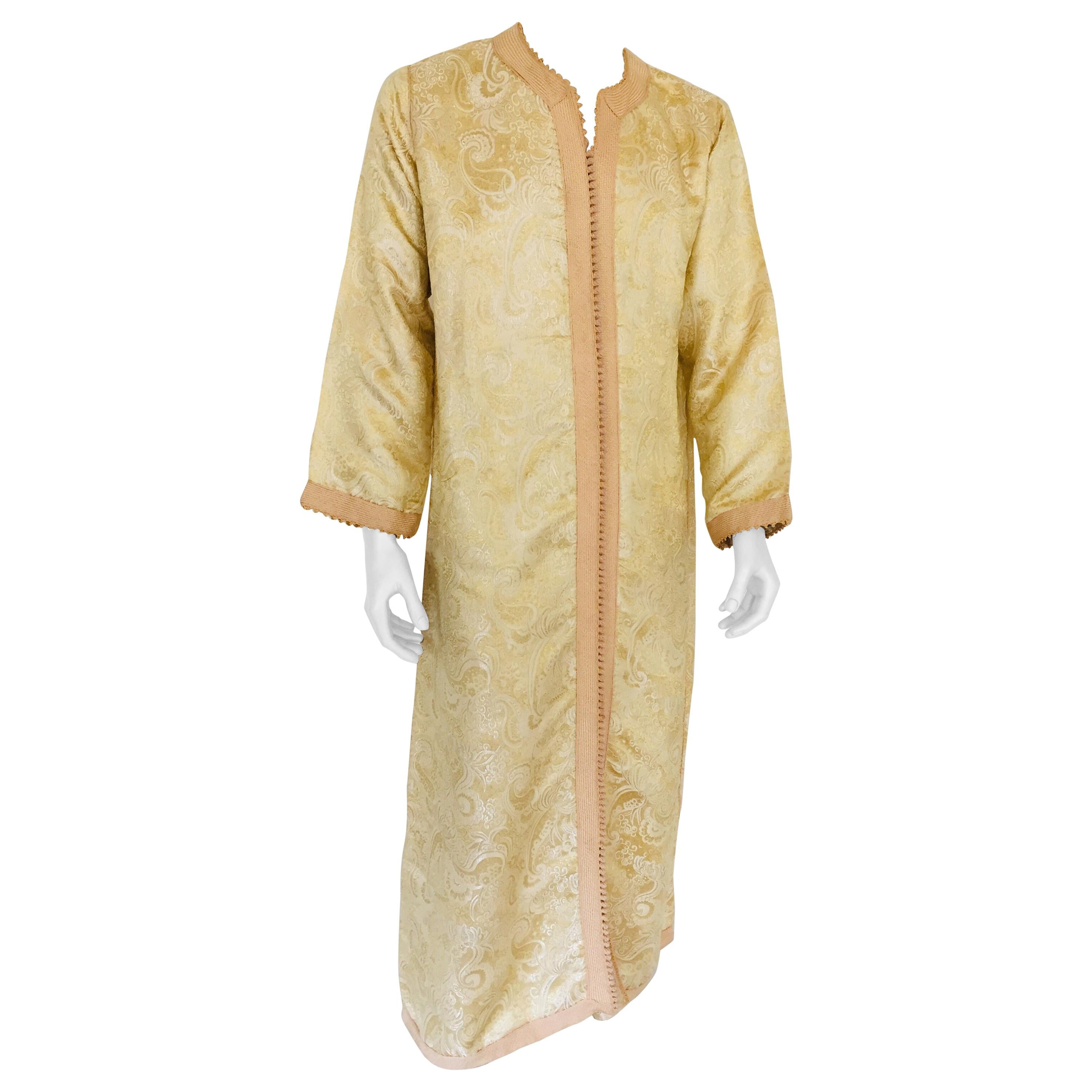 Metallic Gold and Silver Brocade 1970s Maxi Dress Caftan, Evening Gown Kaftan