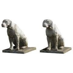 French Dog Statues Cast Stone 'the pair', Hand-Finished in the France
