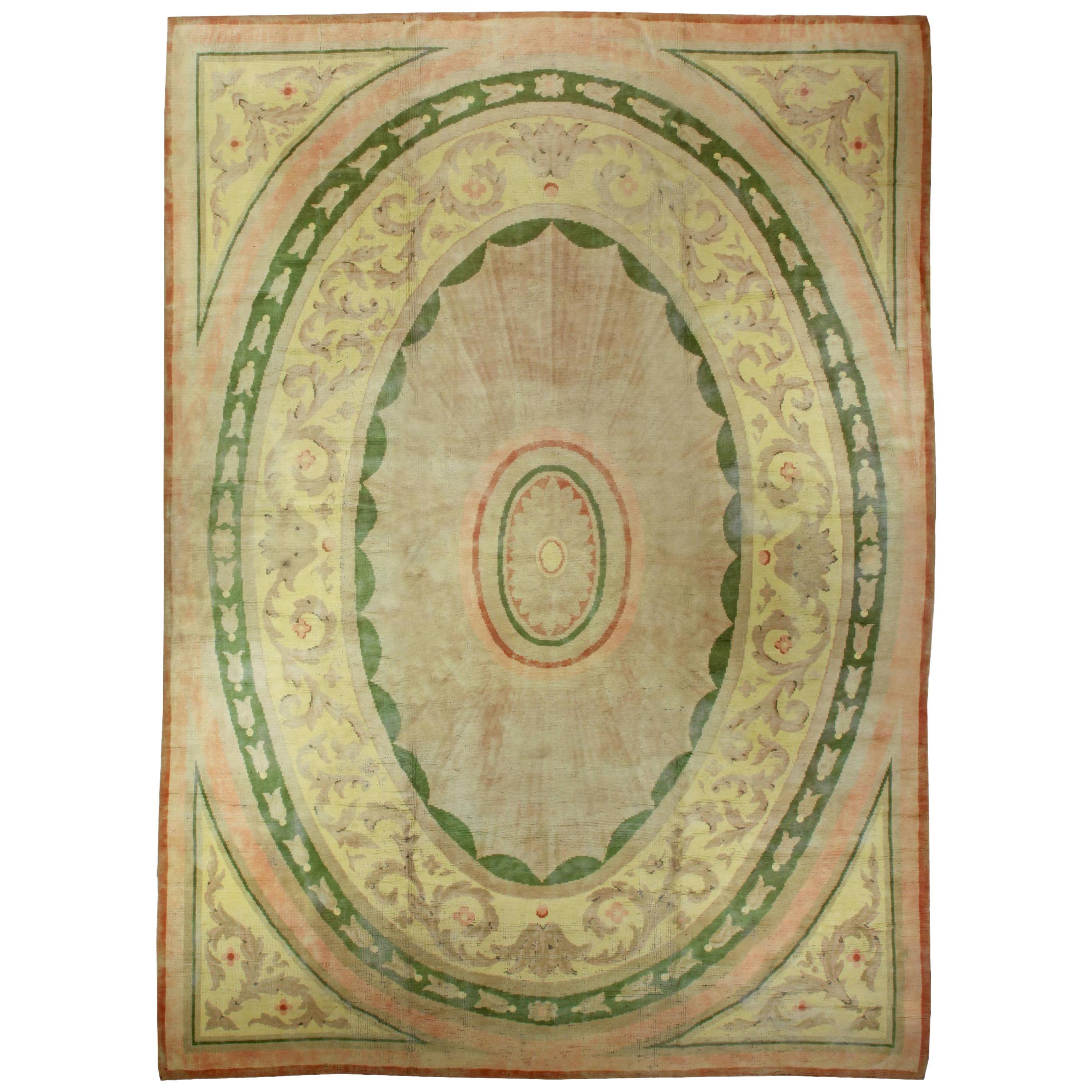 Green Large Vintage Savonnerie Carpet