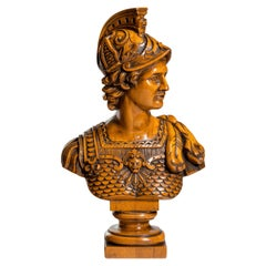 Boxwood Bust of a Greek Warrior, Probably Achilles, by J A De Groot