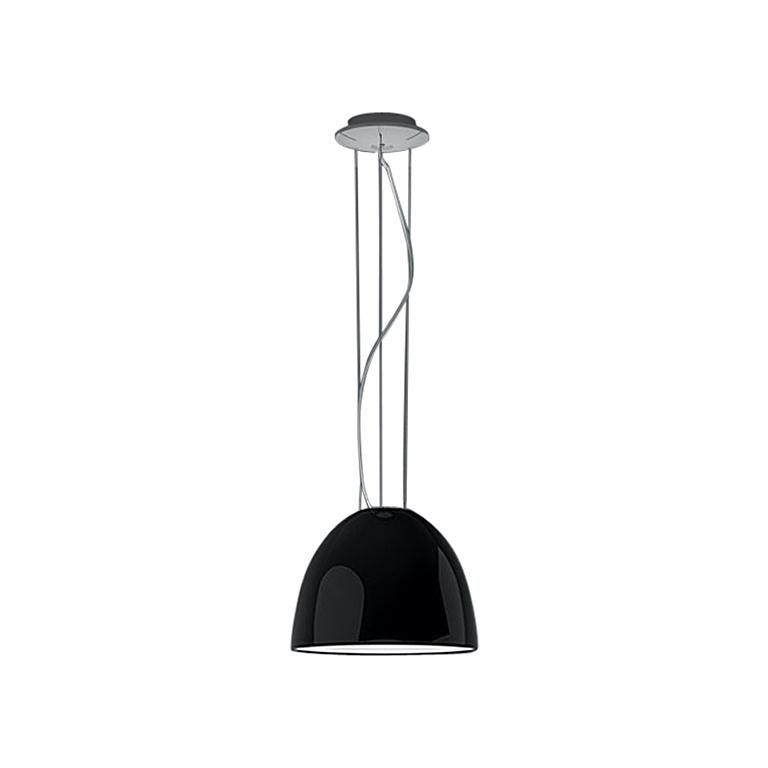 Artemide Nur Mini Suspension Light 100W E26/A19 in Gloss Black For Sale