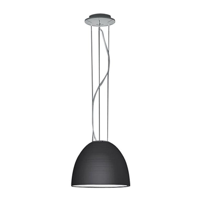 Artemide Nur Mini Suspension Light 100W E26/A19 in Anthracite Grey For Sale