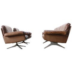 Swiss De Sede DS 31 Set Three-Seat Sofa and 2 Swivel Lounge Chairs, 1970s Brown