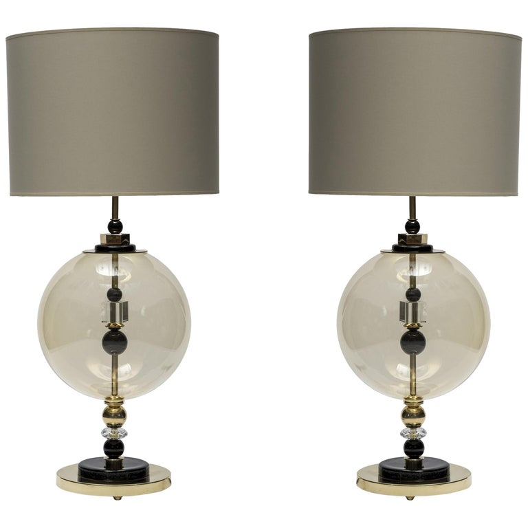 Pair of Round Brass and Murano Glass Table Lamps For Sale