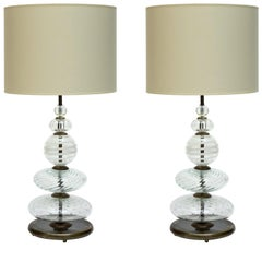 Pair of Clear and Swirled Murano Glass Table Lamps