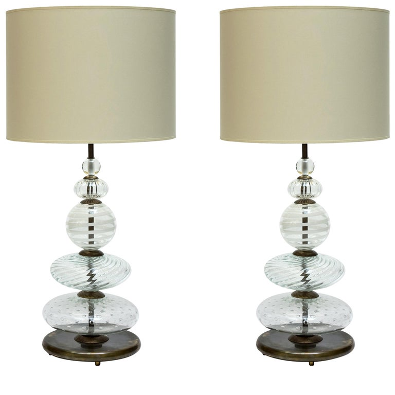 Pair of Clear and Swirled Murano Glass Table Lamps For Sale