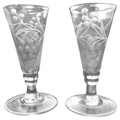 Georgian Pair of Engraved Wine Drinking Glasses Hand Blown, circa 1790