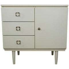 1950s-1960s White Satin Lacquered Wooden Cabinet