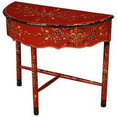 20th Century Red Painted Wood Demilune Dutch Side Table, 1970