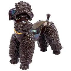 Iridescent Brown Earthenware Poodle Sculpture, 1940s