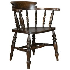 Antique Armchair, English, Victorian, Elm Bow Back, Smokers Captains Chair