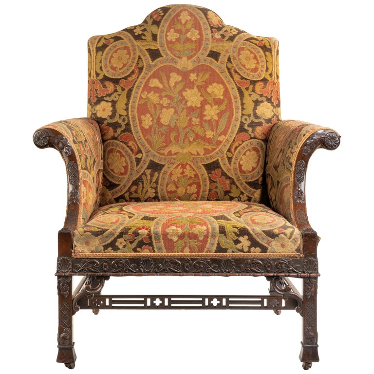 Late Victorian Oversized Armchair in the Chippendale Manner For Sale