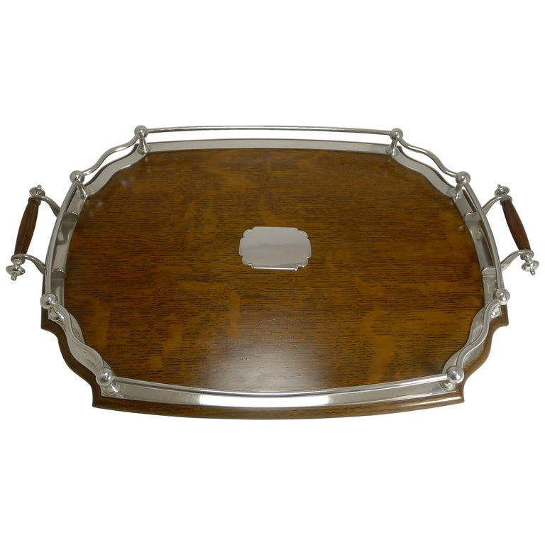 Antique English Oak and Silver Plate Drinks / Cocktail Tray, circa 1900 For Sale