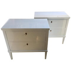 Pair of Gray-White Lacquered Biedermeier Style Commodes