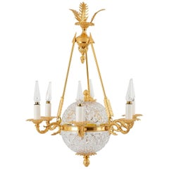 Empire Style Chandelier in Crystal and Gilt Bronze, 1950s