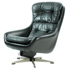 Black Leather Swivel Chair by Peem Company, Finland, circa 1960s